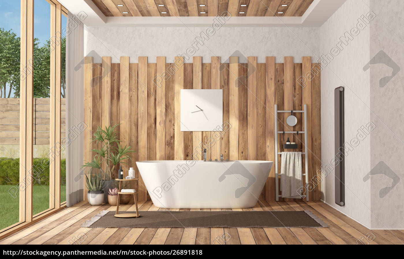 Picture of: Modern Wooden Bathroom With Bathtub Stock Image 26891818 Panthermedia Stock Agency