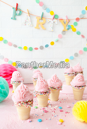 pink soft serve ice cream with