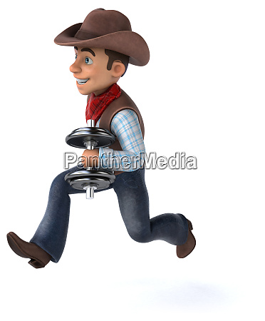 fun cowboy 3d illustration