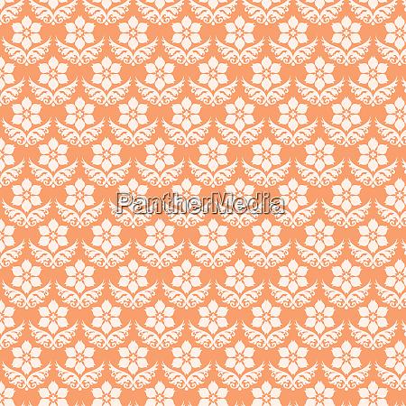 orange damask flower pattern on pastel