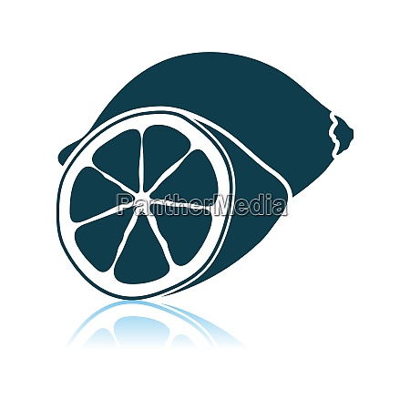 lemon icon on gray background