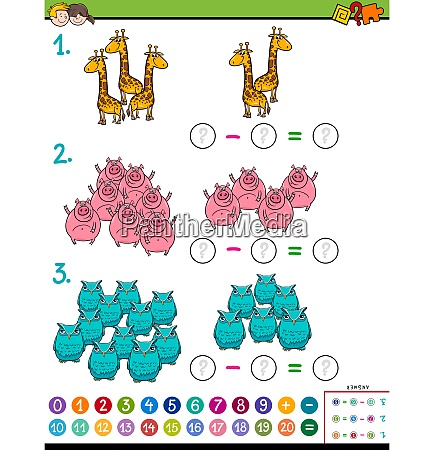 maths subtraction educational task for children