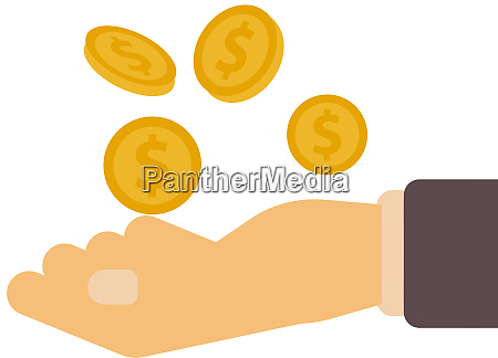 gold coins money hand receive