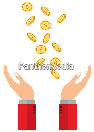 gold coins money hands receive