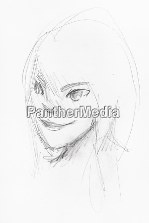 sketch of girls head with smiling