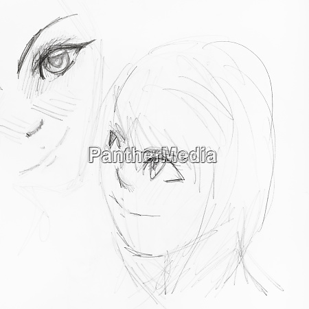 sketches of girls faces in anime