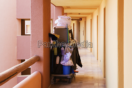 cleaning supplies in a hotel walkway