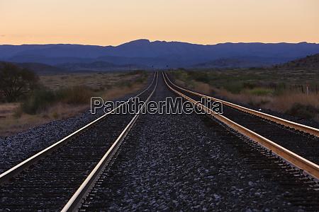 railroad lines at dawn