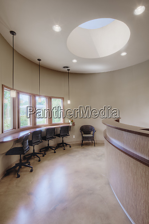 waiting area in modern beauty salon