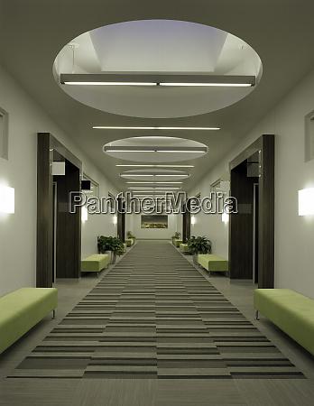 skylights over office corridor