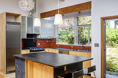 countertop and lights in modern kitchen