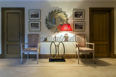 table chairs and lamp in foyer