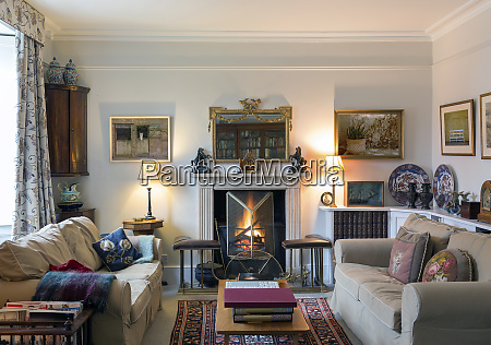 domestic livingroom with fireplace