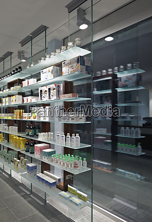 glass shelves and windows in modern