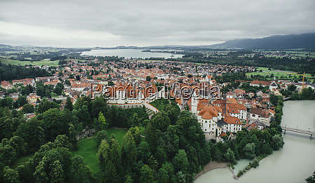 drone point of view townscape fuessen