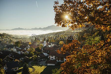 sunny idyllic scenic autumn view of
