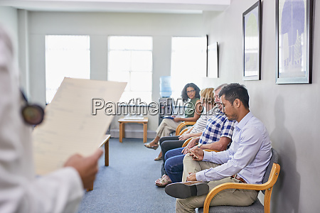patients waiting in clinic waiting room