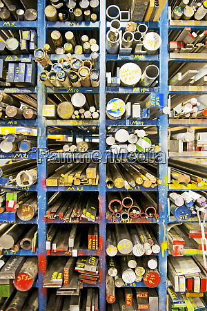 shelves of aluminum steel and copper