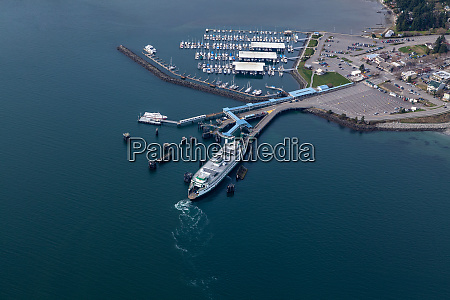 aerial view of ferry terminal in