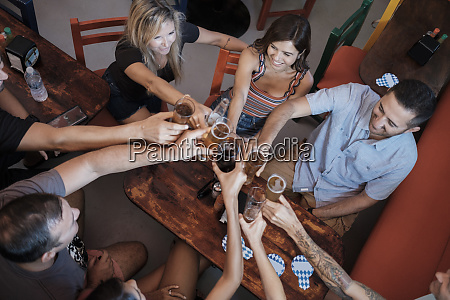 friends socializing and clinking beer glasses