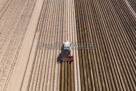 germany hesse aerial view of tractor