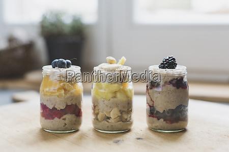jars with fruit dessert