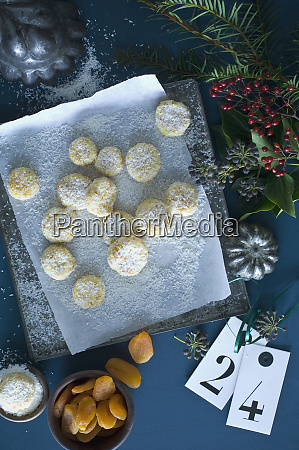 christmas cookies with apricots sprinkled with