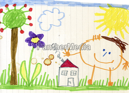childs drawing happy child house and