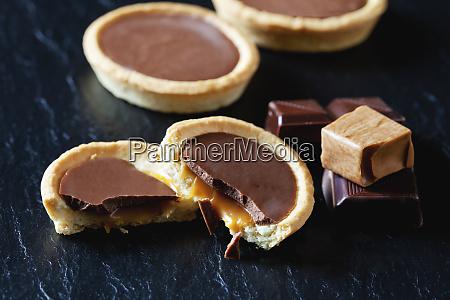 cocolate caramel tartlets on black slate