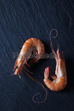 boiled prawns on black slate