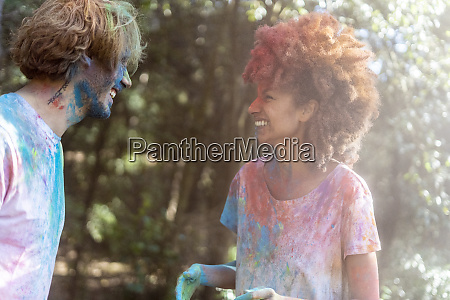 happy couple celebrating holi festival festival