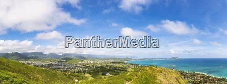 usa hawaii oahu kailua panoramic view