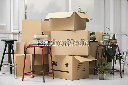 cardboard boxes on the floor in
