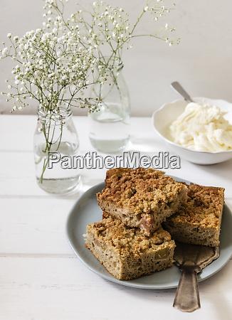 rhubarb cake on plate