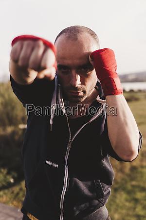 portrait of boxer outdoors