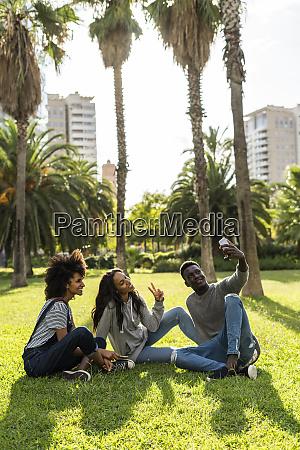 friends sitting on grass having fun
