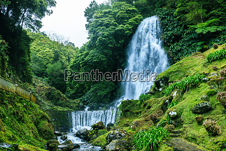 portugal azores islands sao miguel waterfall