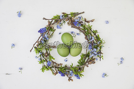 self made easter wreath and green