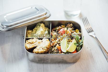 bento box of quinoa salad with
