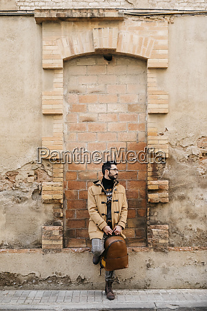 spain igualada man with backpack standing