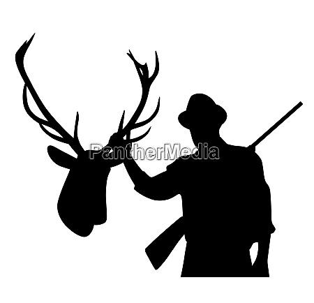 hunter with rifle holding stuffed deer