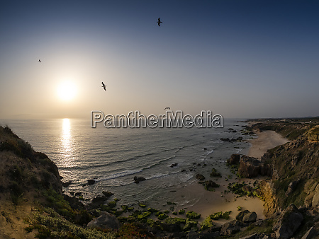 portugal alentejo beach at sunset