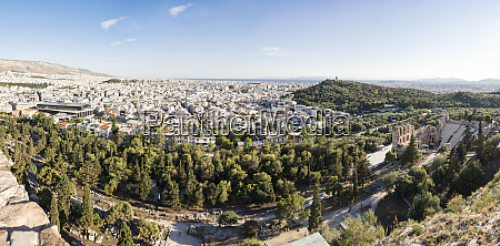 greece athens panorama view on odeon