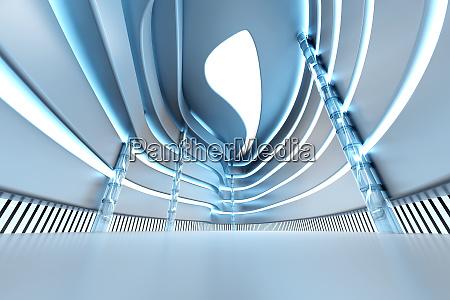 modern light blue shopping mall 3d