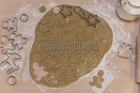 christmas bakery gingerbread dough figures cutting