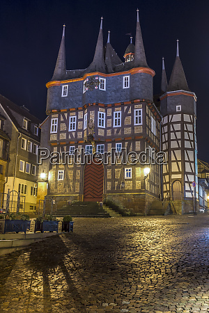 germany hesse frankenberg townhall at night