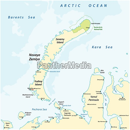 map of the archipelago nova zemlya