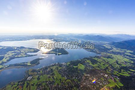 germany bavaria chiemgau aerial view of