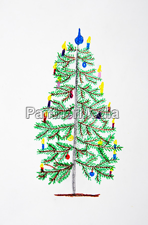 childrens drawing of decorated christmas tree