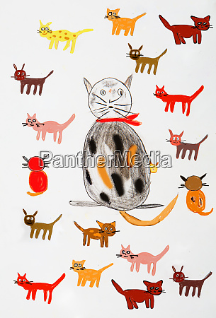 childrens painting of various cats